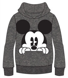 "Disney's ""Mickey Mouse"" Peeking Adult Pullover Hoodie, Gray"