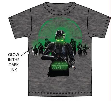 "Disney's ""Star Wars"" Glow in the Dark Adult TShirt, Dark Gray"