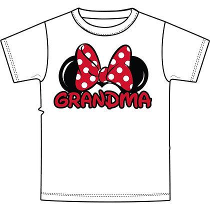 """Disney's White Minnie Ears """"Grandma"""" TShirt"""