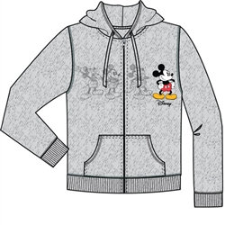 "Disney's ""Mickey Mouse"" Plus One Adult Zip Up Hoodie, Gray"