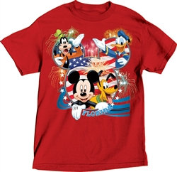 "Disney's USA ""Mickey, Pluto, Goofy, Donald"" Adult Tee, Red (Florida Namedrop)"