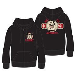 """Disney's """"Mickey Mouse"""" 1928 Original Zip Up Hoodie Sweatshirt, Black"""