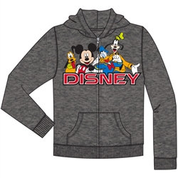 Disney's Mickey & Friends Zip Up Hoodie, Charcoal Gray