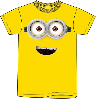 Disney Minions Happy Face Crewneck Yellow Short Sleeve Shirt
