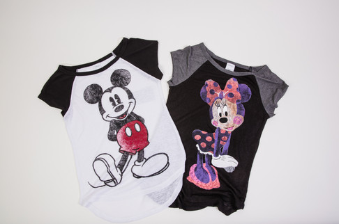 Mickey Mouse black and white shirt, Minnie mouse black and gray shirt