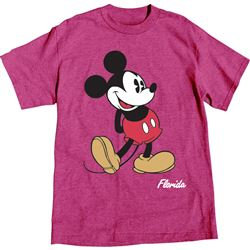 "Disney's ""Mickey Mouse"" Adult Tee, Island Pink Heather (Florida Name)"