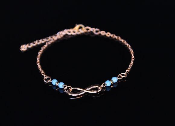 Blue Gold Infinite Anklet