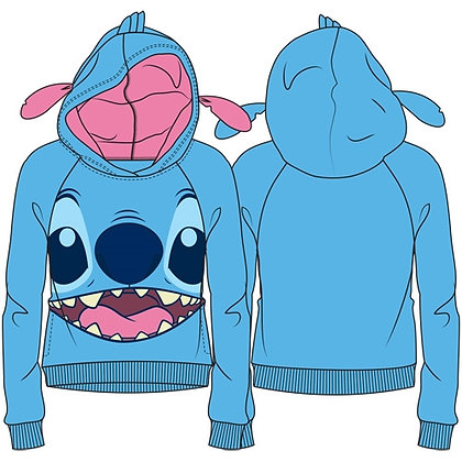 "Disney's ""Lilo & Stitch"" Stitch with Ears Pullover Hoodie, Blue"