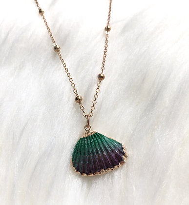 Green/Purple Shell Necklace