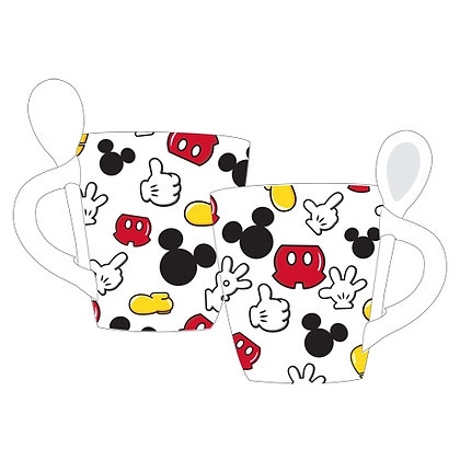 Disney's Mickey Mouse Parts Mug with Spoon, White