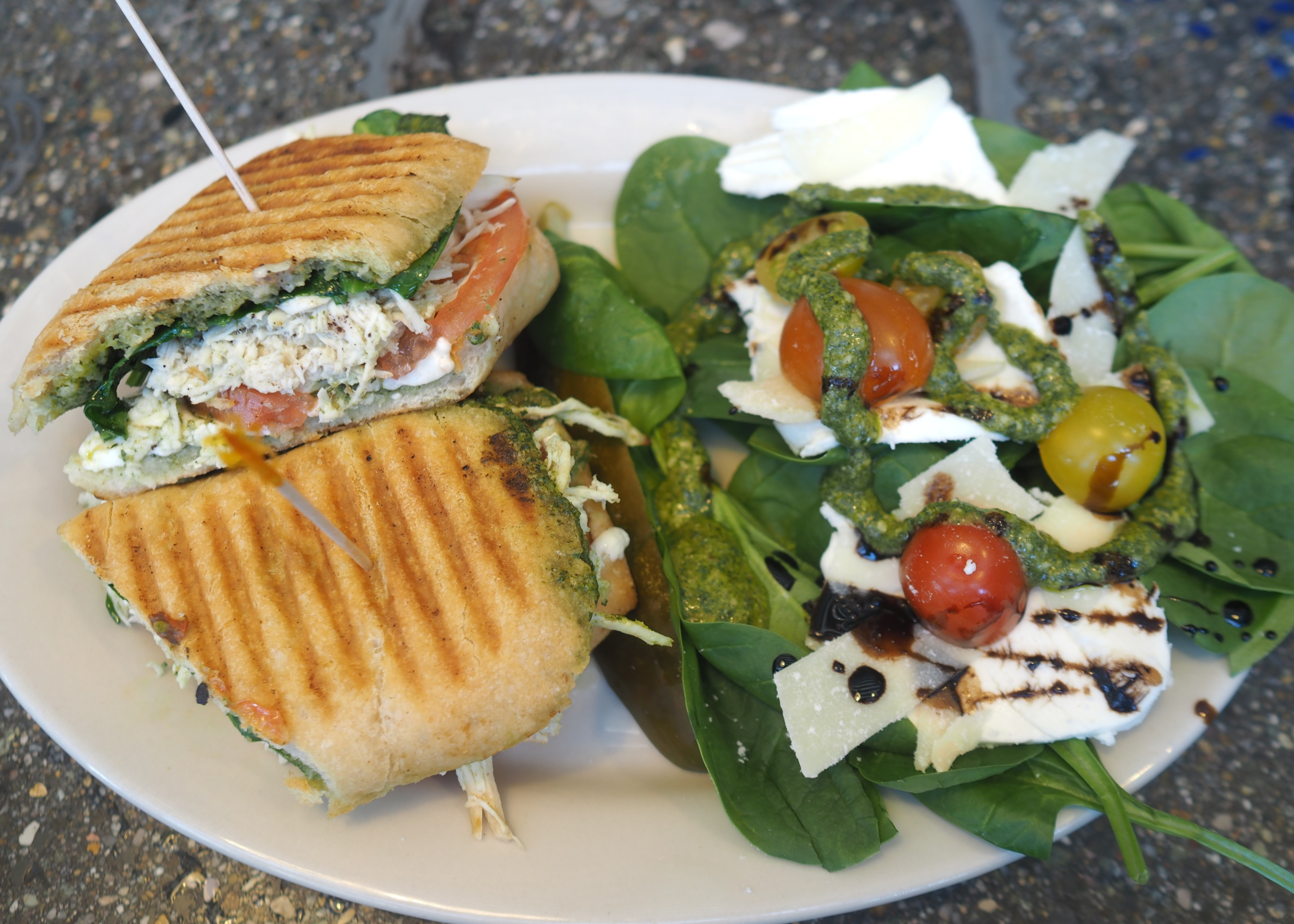 Chicken Pesto Panini with Caprese Salad