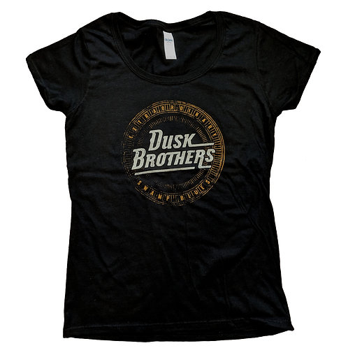 Ladies Deep Scoop Black - 'Extraordinary Swamp Blues' Logo T-Shirt