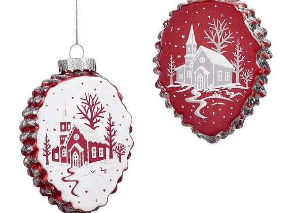Pinecone Ornaments with Church Scene - Set of 2