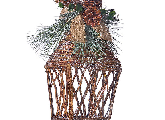 """16"""" Twig Lantern with Holly and Pinecones"""