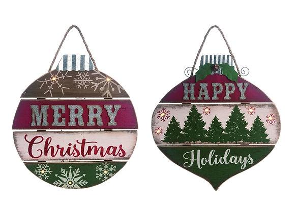 "16"" Christmas Light Up Ornament Wall Decor - Set of 2"