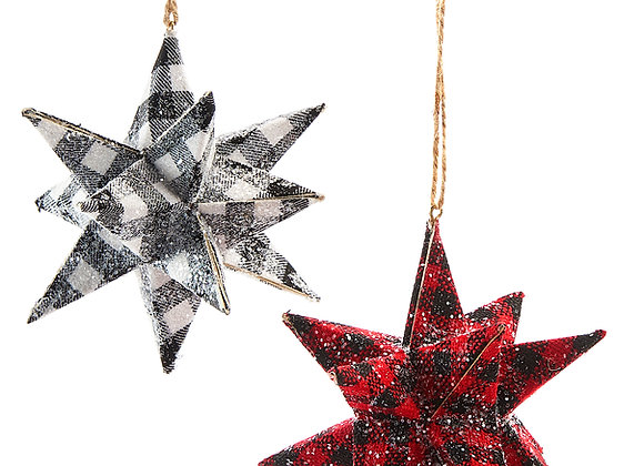 3D Plaid Starburst Ornaments - Set of 2