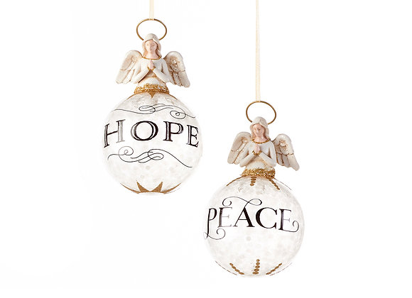Angel Ornaments with Hope/Peace - Set of 2