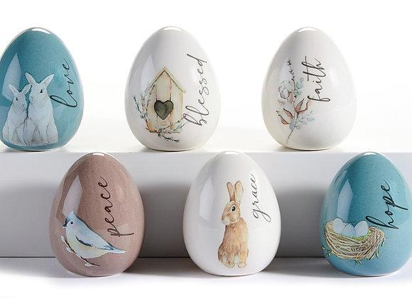 Ceramic Sentiment Egg Decor