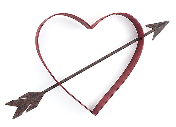 Rustic Red Open Heart Wall Hanging