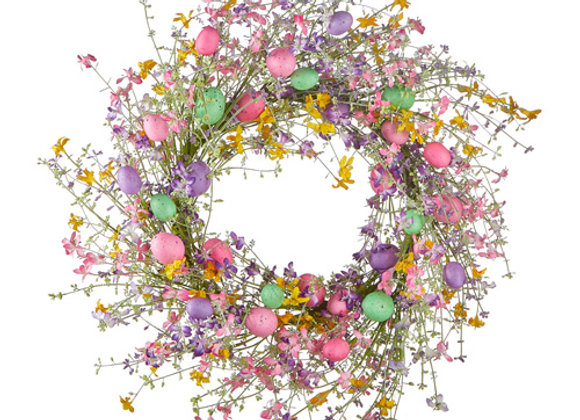 Wildflower and Pastel Egg Wreath