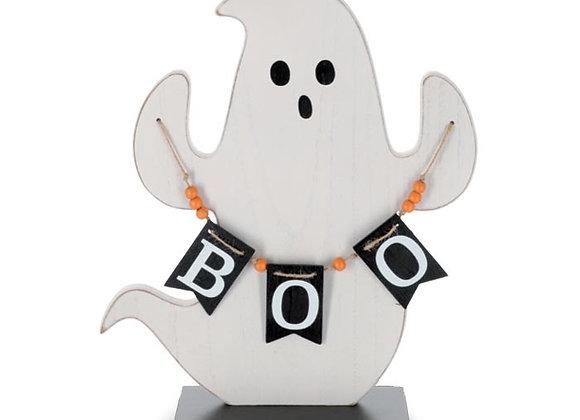 Ghost Holding Boo Banner Shelf Sitter