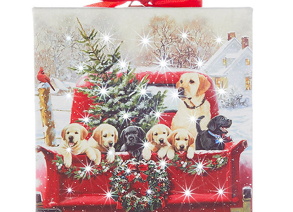 """6"""" Labradors in Truck Lighted Print Ornament with Easel Back"""