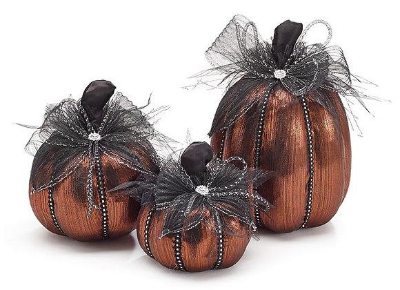 Burnt Orange Metallic Pumpkin - Set of 3