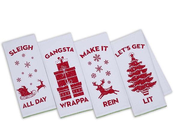 Holiday Slang Printed Dishtowels - Sold Individually