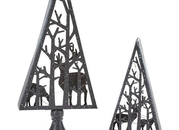 Metal LED Trees with Reindeer