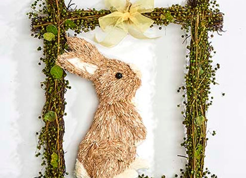 """15"""" Grass Bunny in Moss Frame"""