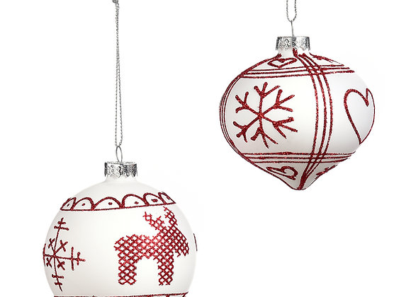 Nordic Design Glass Ornaments - Set of 2