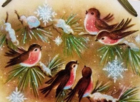 Winter Birds Vintage Wall Hanging