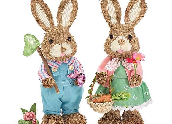 Boy and Girl Bunnies in Pastel - Set of 2