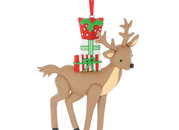 Clay Dough Reindeer with Gifts Ornament