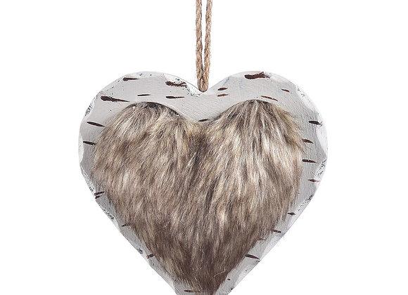 Wood Faux Fur Heart Ornament