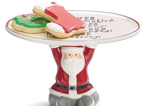 Santa Pedestal Cookie Plate