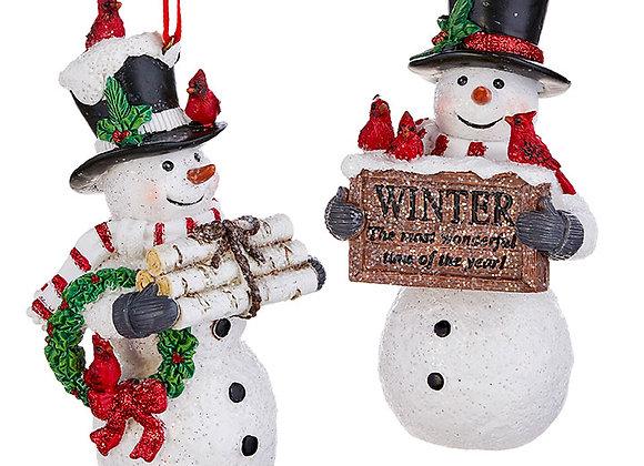 """5"""" Snowman Ornaments - Set of 2"""