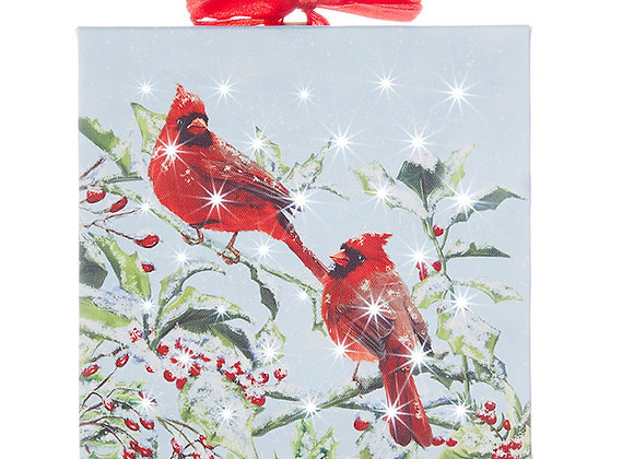 "6"" Cardinal Lighted Print Ornament"