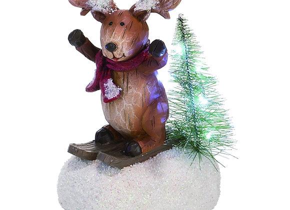 Light Up Skiing Reindeer Figurine