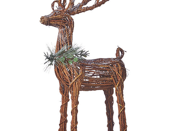 """29"""" Twig Reindeer with Pine and Holly"""