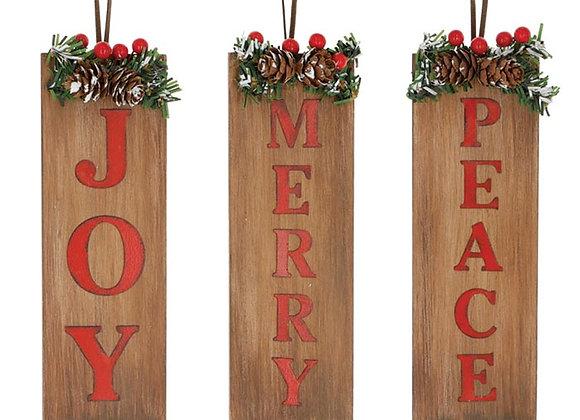 Joy/Merry/Peace Ornaments - Set of 3