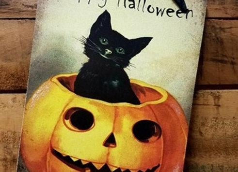 Black Cat Halloween Wall Hanging