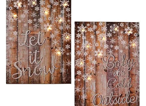 "12"" Snowflake Wood Sign"