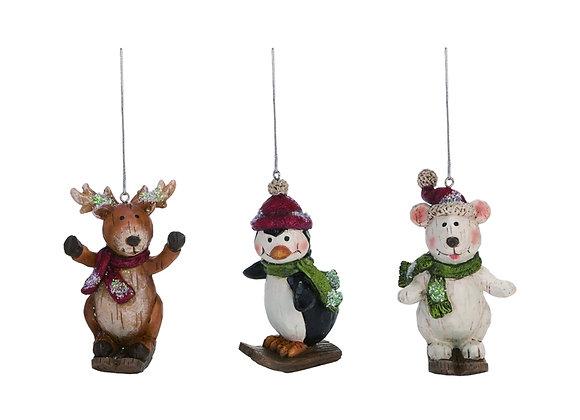 Skiing Animal Ornaments - Set of 3
