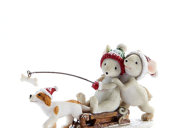 Mice Dog Sledding Figurine