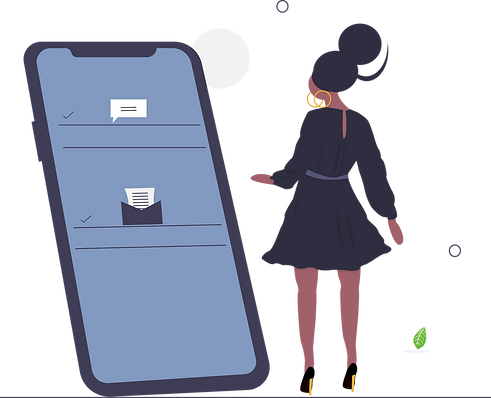 Dressed up girl looking at mobile.png