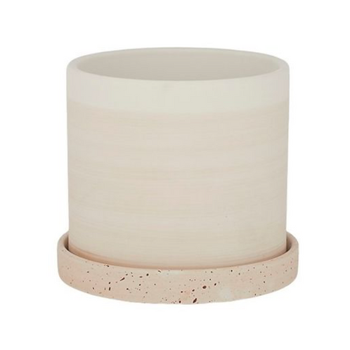 Beige planter with saucer