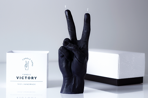 Victory/ Peace candle - Black