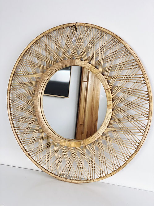 80cm criss cross rattan mirror