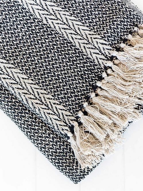 Cotton Throw - Rajasthan - Natural/Black - 125 x 150